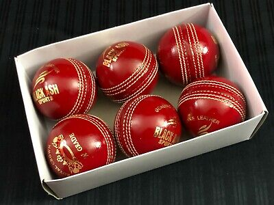 Black Ash Royal Crown Pack Of 6 Red Leather Cricket Balls 156 Grams