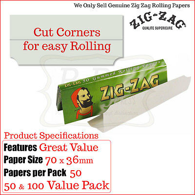 Zig Zag Green Cut Corners Rolling Papers - 50 & 100 Pack Deals Genuine