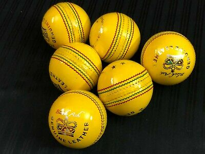 Black Ash Indoor Yellow Leather Cricket Ball Pack Of 6