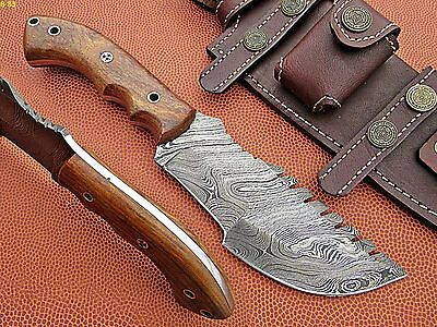 Custom Hand Made Damascus steel Hunting Tracker Knife With Rose Wood Handle.