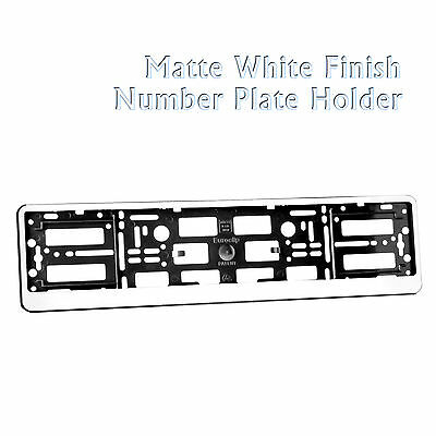 Matte White Effect Car Number Plate Holder Surround Frame Abs Pc For Any Car New