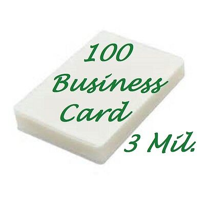3 Mil Business Card 100 pack Laminating Laminator Pouches Sheets 2-1/4 x 3-3/4