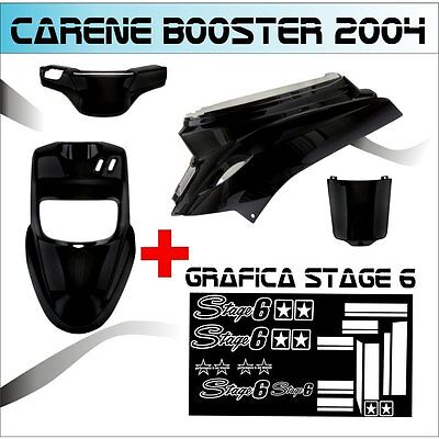 Set Fairings Black Mbk Booster Bw's From 2004 + Graphic Stage 6 Stickers White