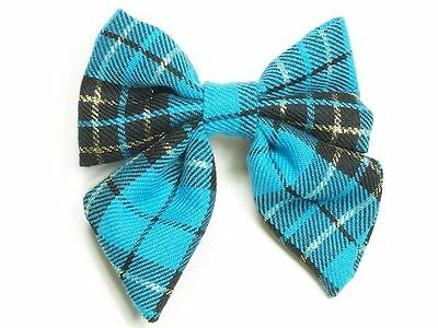 Girls Ladies Blue Scottish Tartan Check Bow Sprung Barrette Hair Clip Grip Slide