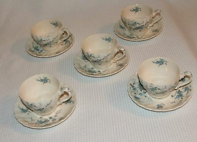 5 Myott Forget Me Not Staffordshire Blue Flowers White China Coffee Cups Saucers