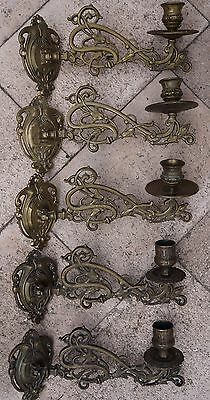 5 Antique Ornate Brass Piano Wall Candle Holders Sconce