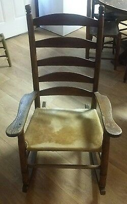 Early Ville Platte Style Cajun Handmade Cowhide Rocking Chairs ,pegged Super! !