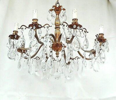 Antique Chandelier 8 Arms Gold Brass or Bronze & Crystal Prisms Vintage French