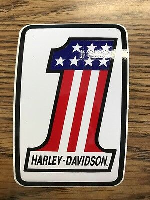 "HARLEY-DAVIDSON (Lot of 5) number one #1 Stiker 4""x 2.8"" AMERICAN FLAG #1 USA!!!"