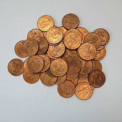 Lot of 50 Uncirculated Great Britian Large Cents One Penny Coins 1967 One Pence