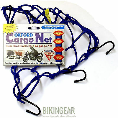 Oxford Motorcycle Motorbike Strong Elasticated Cargo Net Luggage Carrier - Blue
