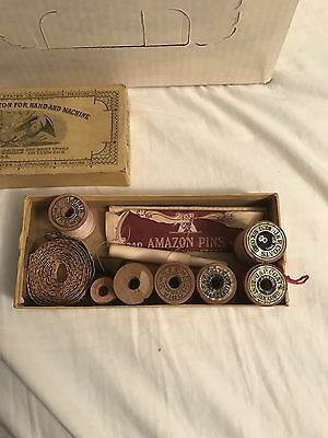 RARE Vintage J. & P. Coats Cardboard Box With Sewing Contents