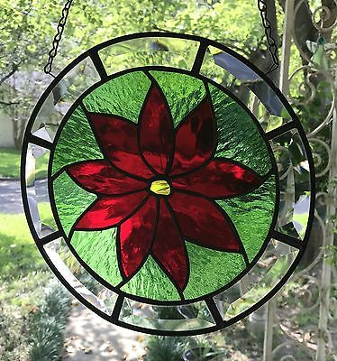 """Poinsettia Stained Glass Suncatcher with Crystal Clear Bevels, 10"""" Circle"""