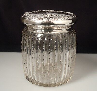 Cut Glass Vanity / Biscuit Jar w/ Sterling Silver Lid