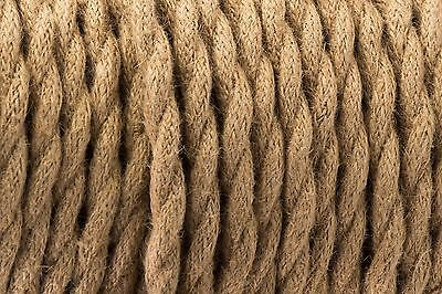 Vintage Brown Twisted Silk Braided Vintage Fabric Coloured Cable 3 core 0.75mm