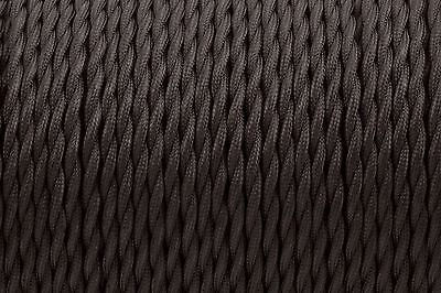 Black Twisted Silk Braided Vintage Fabric Coloured Lighting Cable 3 core 0.75mm