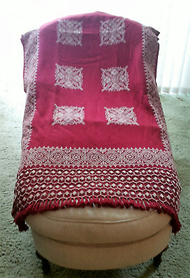 Hand Loomed, Hand Embroidered Wool Coverlet- Finest From the Hueyapan Weavers
