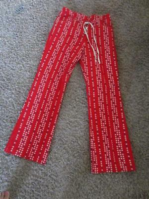 Vintage 1970s Patriotic Hip Huggers Grommets Bell Bottom Pants Disco Cotton S