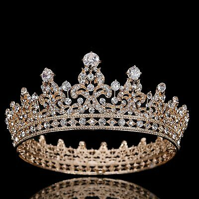 FUMUD Charm Rhinestone Zircon Crown Bridal Tiara Crystal CZ Diadem For Bride