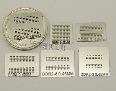 1Set 6PCS Directly Heated BGA Reballing Template Stencils For DDR2/DDR3/GPU