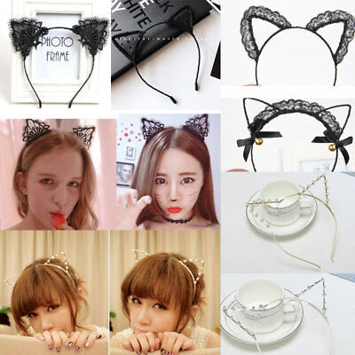 Womens Cute Cat Ear Lace/Rhinestone/Pearl Headband Ladies Cosplay Party Hairband