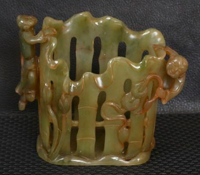China Exquisite Handcarved child gourd Fence shape carved Hetian jade Pen holder