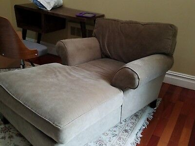 TWO Mitchell gold and Bob Williams Restoration Hardware velvet chaise lounges
