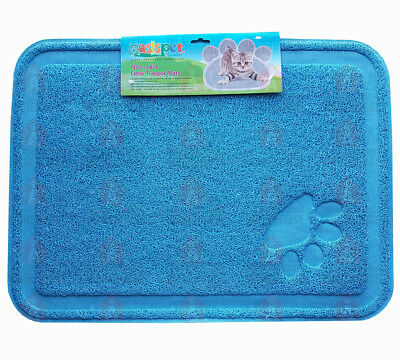 Large Kitty Litter Trapper Mat 60cm x 40cm BLUE - Non Skid, Soft On Paws, PVC