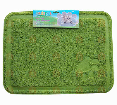 Large Kitty Litter Trapper Mat 60cm x 40cm GREEN - Non Skid, Soft On Paws, PVC