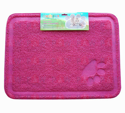 Large Kitty Litter Trapper Mat 60cm x 40cm PINK - Non Skid, Soft On Paws, PVC