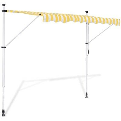vidaXL Toldo Modelo Retráctil Tipo Manual Colores Amarillo/blanco 150/200/250 cm