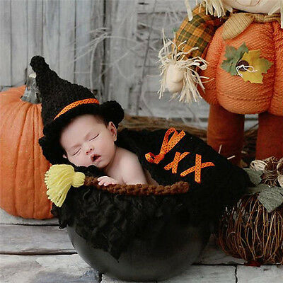 Black Newborn Baby Boy Girl Hat Broom Outfit Crochet Knit Photography Prop Cloth