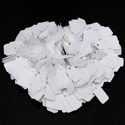 500 White Strung String Tags Swing Price Jewelry Clothing Tie On Paper Labels