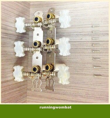 2Pieces White and Silver 3R3L Guitar Machine Head Tuners for Classical Guitar