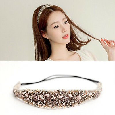 Lady Women Elastic Crystal Metal Rhinestone Head Chain Jewelry Headband Headwear