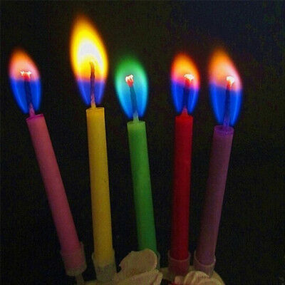 12Pcs/Lot Multicolour Flame Birthday Candles Safe Candle Wedding Party Decor Hot