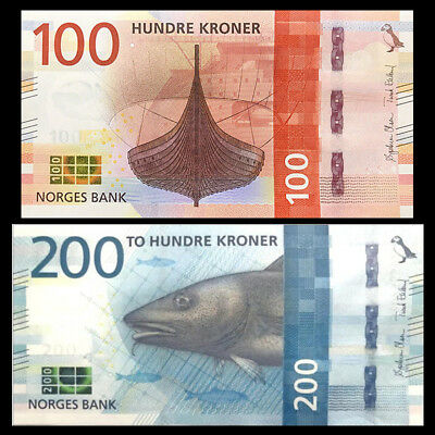 Norway Set 2 PCS, 100 200 Kroner, 2016(2017), P-NEW, UNC