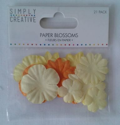 Dovecraft Simply Creative Paper Flower Blossoms - Yellow/orange