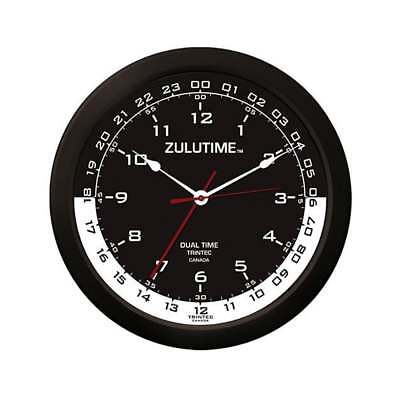 "Trintec ZuluTime Dual Time Clock - 14"" Black/White Dial"