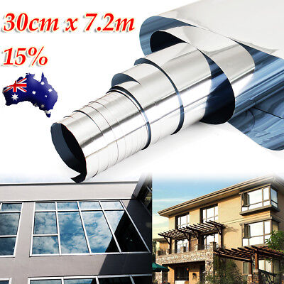 15% 30cmx7.2m Silver Insulation Stickers Reflective Window Film One Way Mirror