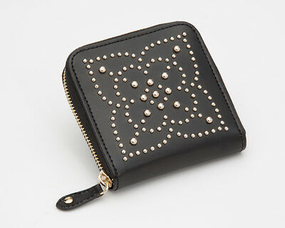 Wolf Marrakesh Leather Zip Travel Jewellery Case in Black with Gold Mosaic