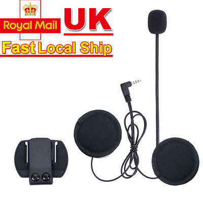 Motorcycle Helmet Speaker Earphone Mic Headset For V6 1200M BT Interphone UK
