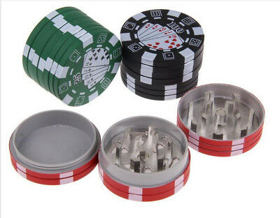 3 Layer Poker Chip Herbal Herb Tobacco Grinder Hand Muller Smoke Crusher 40 mm