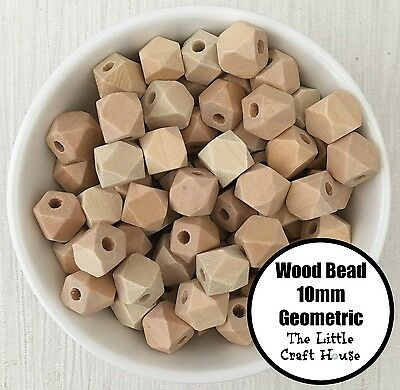 15 Natural Unfinished Geometric Wood Beads 10mm Wooden Bead Hexagon Teething DIY
