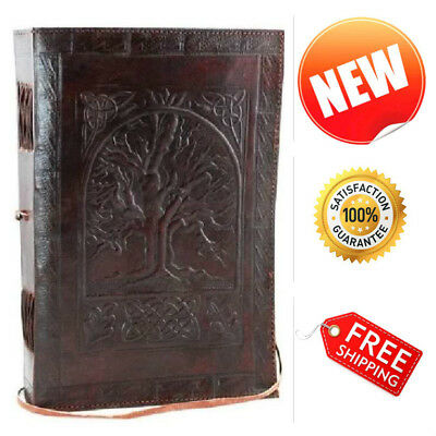 "Leather Blank Book Journal Large Tree of Life Diary Notebook Sketchbook 7"" x 10"""