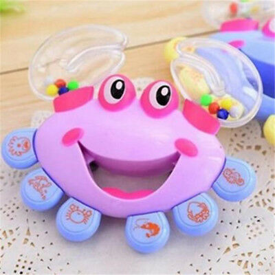 X1 Kids Baby Crab Design Handbell Musical Instrument Jingle Shaking Rattle Toy ♫