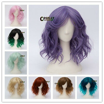 Curly Short Party Multi Colour Fashion Daily Curly Anime Cosplay Wig+Cap
