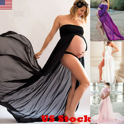 US Pregnant Women Chiffon Maxi Dress Maternity Gown Photography Props Dress New
