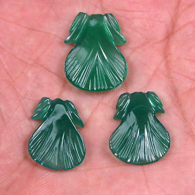 18.18 CTS Green Onyx Hand Crafted Leaf Shape Carving 3 Pcs Set Loose Gemstones