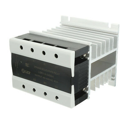 40A 3-32VDC to 40-440VAC Thermal Compound 3 Phase Solid State Relay + Heat Sink